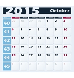 Calendar 2015 October design template vector