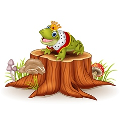 Cartoon funny frog king sitting on tree stump vector
