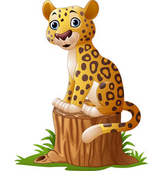 Cartoon leopard sitting on tree stump vector