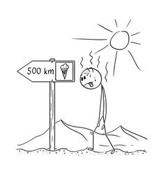 Cartoon of man walking thirsty through desert and vector