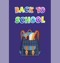 chequers backpack back to school bag promo poster vector image