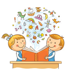 children reading a book together vector image