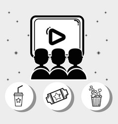 cinema with popcorn soda movie and tickets vector image