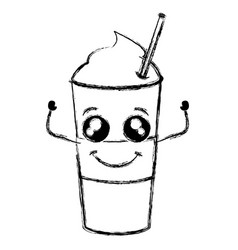 Coffee shake with straw kawaii character vector