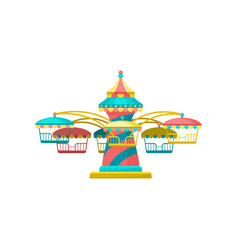 Colorful merry go round carousel amusement park vector