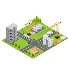 Construction building isometric view vector