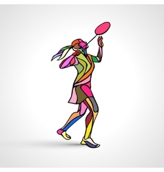 Creative silhouette of abstract female badminton vector image