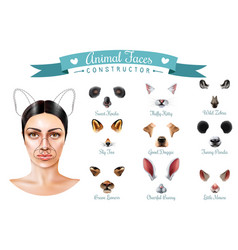 cute animal faces constructor icon set vector image