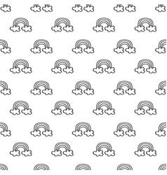 cute rows hand drawn black line rainbow pattern vector image