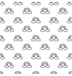 Cute rows of hand drawn black line rainbow pattern vector