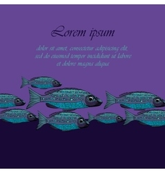 Dark Blue background with fishesSeafood vector image
