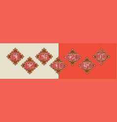 Decor element and pound sign from 1 to 100 vector