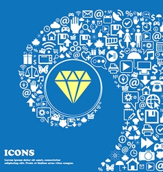 diamond icon Nice set of beautiful icons twisted vector image