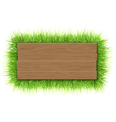 Empty wooden sign with grass vector
