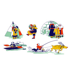 Eskimo characters in traditional clothes and vector