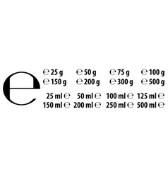 Estimated e sign e-mark with correct dimensions vector