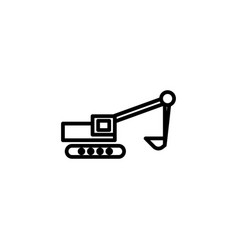 excavator icon with line style vector image