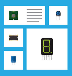 Flat icon electronics set of calculate transistor vector