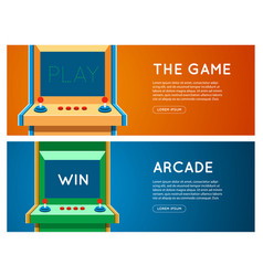 Flat retro game machine banner set vector