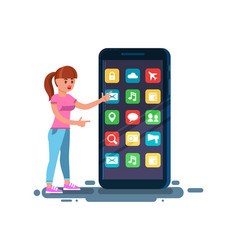 flat woman girl typing on mobile smartphone vector image