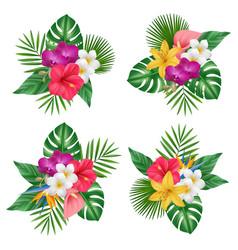 Flowers bouquet tropical exotic plants bali vector