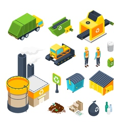 Garbage Isometric Icon Set vector