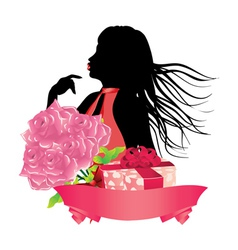 Girl with gift box and roses2 vector image