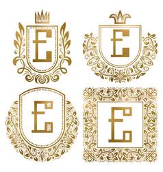 Golden vintage monograms set heraldic logos e vector