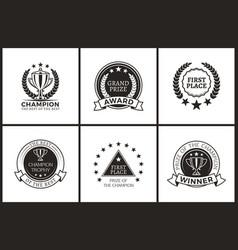 Grand prize of champion monochrome logotypes set vector