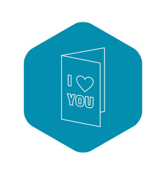 Greeting card on valentine day icon outline style vector