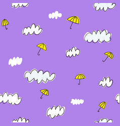 hand drawn clouds and umbrellas seamless pattern vector image