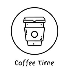 Hand drawn coffee cup to go icon social media vector
