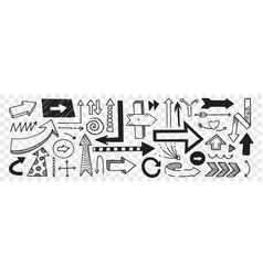hand drawn pointers doodle set vector image
