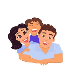 Happy family father mom and daughter vector