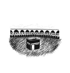 Holy kaaba hand drawn isolated on white background vector