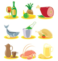 Icons for restaurant menu vector image