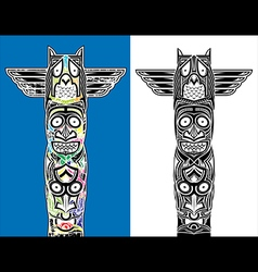 indian totem carved owl and scary faces vector image