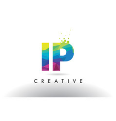 Ip i p colorful letter origami triangles design vector