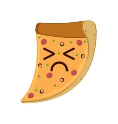 isolated sad slice of pizza emote vector image