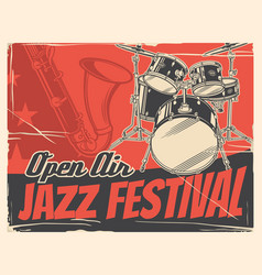 Jazz musical instruments poster music festival vector