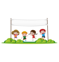 Kids jumping in the park vector