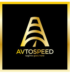 Letter a logo - auto speed luxury royal gold metal vector