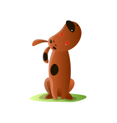 Lonely brown cartoon dog howling isolated on white vector