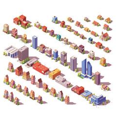 Low poly isometric buildings set vector