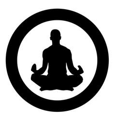 Meditating man practicing yoga symbol icon black vector