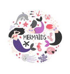 mermaida and ocean animals vector image