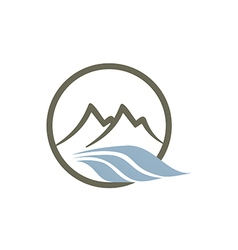 mountain river abstract line logo vector image