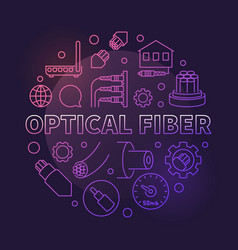 optical fiber round colorful outline vector image