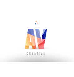 Orange blue alphabet letter av a v logo icon vector