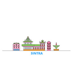 Portugal sintra line cityscape flat vector